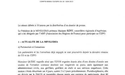 Miviludes Compte rendu de la réunion plénière CO-CEPO du 20 JUIN 2013