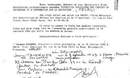 UNADFI 30 juin 1994 Janine Tavernier création de la FECRIS