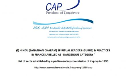 HINDU (SANATHAN DHARAM) SPIRITUAL LEADERS (GURUS) & PRACTICES IN FRANCE LABELLED AS  'DANGEROUS CATEGORY '