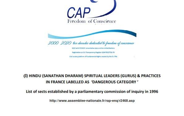 HINDU (SANATHAN DHARAM) SPIRITUAL LEADERS (GURUS) & PRACTICES IN FRANCE LABELLED AS  'DANGEROUS CATEGORY '