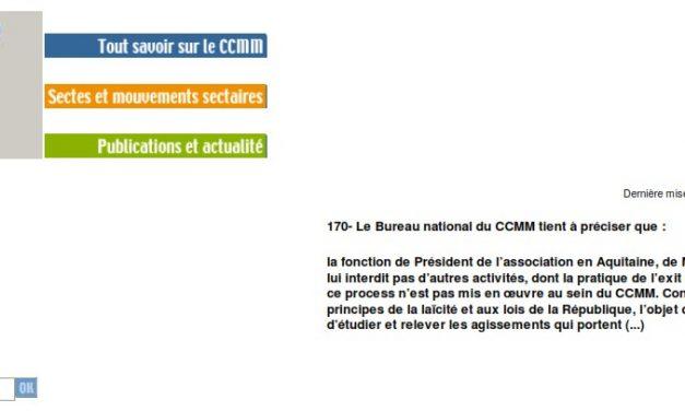 Le CCMM se désolidarise de l'exit counseling de Maître Picotin