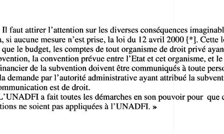 L'UNADFI s'oppose à la loi du 12 avril 2000 d'accès aux documents administratifs